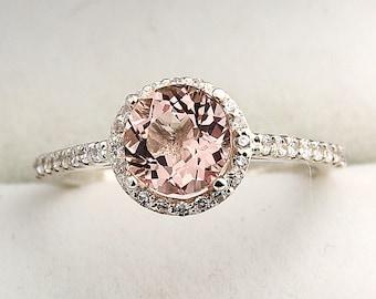 7mm Round Natural Morganite  1.30 ct  Solid 14K White Gold Diamond Engagement Ring - Gem830