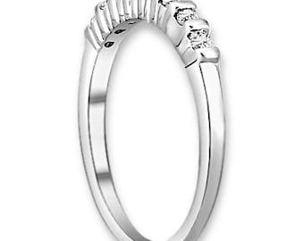14K White / Yellow / Rose  Gold  Natural Round Diamond Wedding Band  Aniversary Ring ENS4183