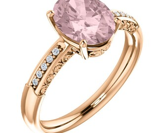 Natural AAA 10x8mm Oval  Morganite  Solid 14K Rose Gold Diamond Engagement Ring Set-ST233444