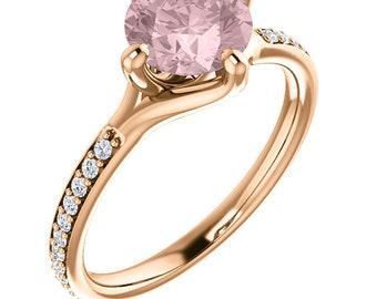 Natural AAA 7mm Round Cut Morganite  Solid 14K rose  Gold Diamond Engagement Ring Set - Gem978
