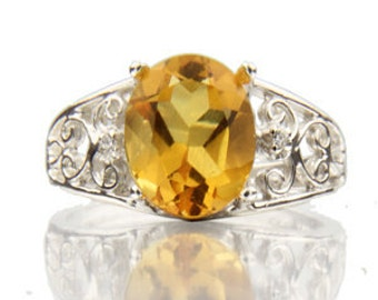 10x8mm Yellow Citrine Solid 14K White Gold antique  Diamond Ring