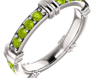 14kt White Gold  AAA 2mm Round Natural Peridot   Eternity Band  Full  Eternity Wedding Band Ring Aniversary Ring  ST233412