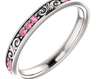 Stackable 14kt White  ,Rose or Yellow Gold  Floral Sculptural Pink Sapphire Eternity Band Ring  ST233645  *****On Promotion*****