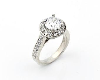 Stunning 7mm  White Sapphire Solid  14k white gold diamond  Halo Engagement Ring
