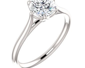 Certified  Forever One Moissanite Lotus Engagement Ring ,Round Brilliant Cut Diamond Simulant Wedding Ring In Solid 14K White Gold - Gem1307