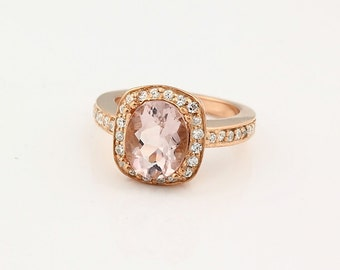 Charming Natural 10x8mm Oval   Morganite  Solid 14K Rose Gold Diamond engagement Ring