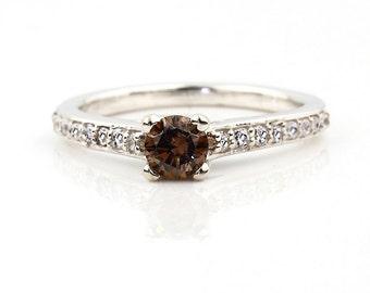 Stunning Natural  Champagne Diamond  Solid 14k white gold diamond Ring Gem664