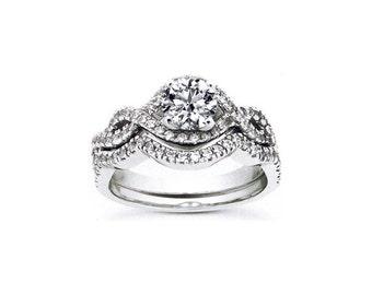 1ct Forever One (GHI) Moissanite Solid 14K White Gold Diamond  Engagement  Ring Set - ENS2025
