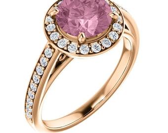 14K Rose Gold Natural Morganite  and Diamond Halo wedding Ring Set  -ST233984  On Promotion