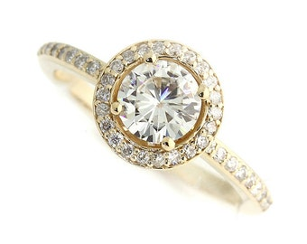 1.0  ct Forever Brilliant Moissanite Solid 14K Yellow Gold Diamond Engagement Ring - ST232603