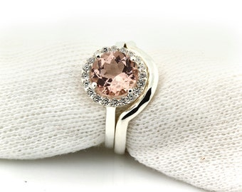 8mm Round 1.80 ct Natural Morganite Solid 14K White Gold Diamond Engagement Ring set - Gem917