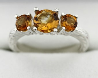 3 stones Yellow Citrine Solid 14K White Gold Antique Ring