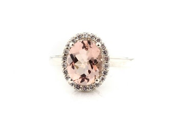 AAA 10x8mm Oval cut 2.50 ct  Natural  Morganite Solid 14K White Gold Diamond Halo  Engagement Ring - Gem918