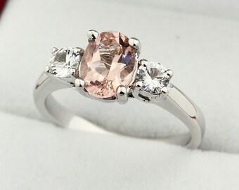 Natural  Morganite  Solid 14K White Gold white sapphire engagement Ring Gem1389
