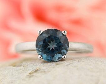 London blue topaz 10K White Gold  Solitaire  Engagement Ring gem1560