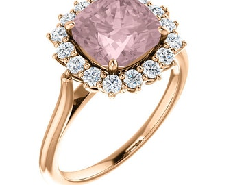 Natural AAA 8mm Antique Cushion Cut Morganite Solid 14K rose Gold Diamond Engagement Ring Set  ST82717