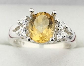 9x7MM Yellow Citrine Solid 14K White Gold Diamond Ring