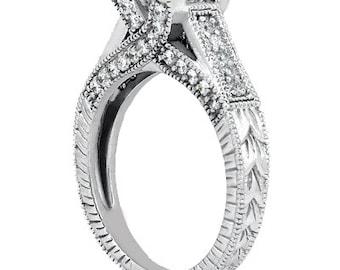 3/4 carat 5mm Round Forever One (GHI) Moissanite Diamond Vintage Engagement Ring ENR2635