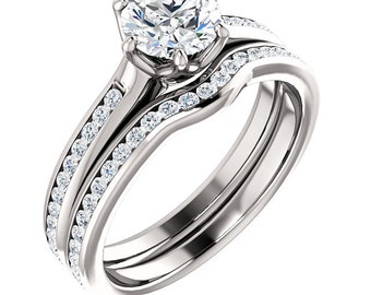 Certified center Natural White Sapphire Solid  14k white gold diamond  Engagement Ring Set ST233225