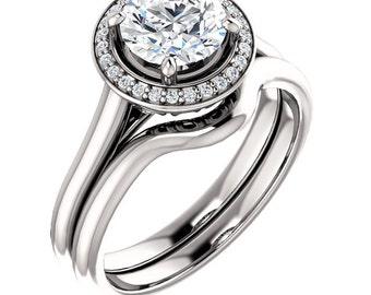 1 ct 6.5mm  Forever Brilliant Moissanite Solid 14K White Gold  Halo-Styled  Engagement Ring Set,Bridal Ring Set -ST82837