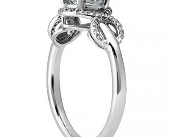 1.00 carat 6.5mm Round Forever One (GHI) Moissanite Infinity  Diamond Engagement Ring ENR0275