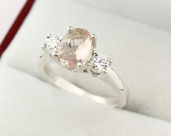 Natural  Morganite  Solid 14K White Gold white sapphire engagement Ring