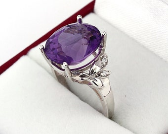 Natural  purple Amethyst Solid 14K White Gold Diamond Ring