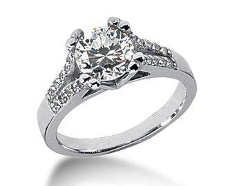 1.00 carat 6.5mm Round Forever One (GHI) Moissanite Diamond Engagement Ring ENR573