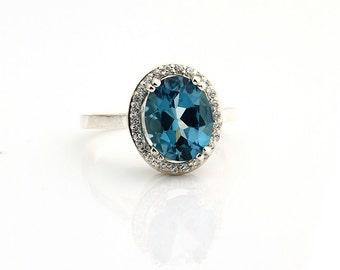 Natural  10x8mm London  Blue Topaz Solid 14K White Gold Diamond engagement  Halo Ring - (Gem829)  On Sale!!!!!!!!!!!