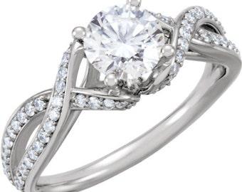 6.5mm  1 ct  Round  Forever One (GHI) Moissanite Solid 14K White Gold Diamond  Engagement  Ring   - ST233300