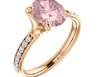 Natural AAA 10x8mm Oval  Morganite  Solid 14K Rose Gold Diamond Engagement Ring Set-ST233555
