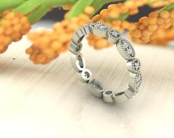 Art Deco Antique Style Diamond /Moissanite  Milgrain 14K White/Yellow/Rose Gold Full Eternity Wedding Band Ring Anniversary Ring, Gem1067