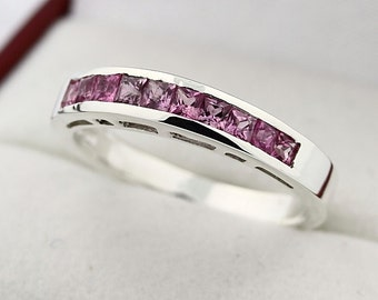 Natural Pink sapphire Solid 14K White Gold wedding Band