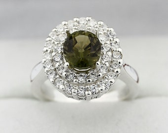 Natural Party-color Tourmaline Solid 14K White Gold Diamond Ring