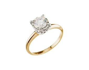 1/2 ct or 1ct  Round  Forever One (GHI) Moissanite Solid 14K Two Tone Gold  Solitaire  Engagement Ring ST251283