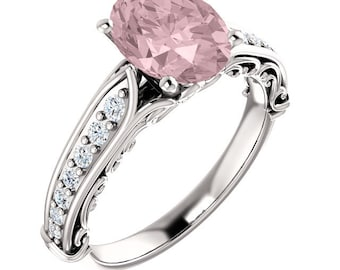 Natural AAA 9x7mm Oval  Morganite  Solid 14K White Gold Floral vintage  Style Diamond  Engagement Ring Set-ST233176