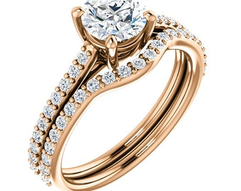Certified center Natural White Sapphire Solid  14k Rose  gold diamond  Engagement Ring Set ST82710