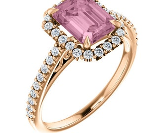 Natural Morganite Ring Set, Diamond Halo Morganite Engagement Ring Band Set, Roes gold, 8x6mm, Octagon - ST233953  On Promotion