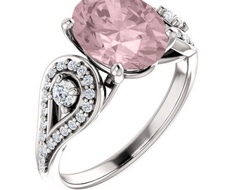 Natural AAA 10x8 mm Oval  Morganite  Solid 14K White Gold Diamond  Engagement Ring Set-ST233113??????????????/