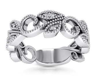 Floral  Diamond Wedding Band  Aniversary Ring In 14K White / Rose  Gold (3/4 FUll Eternity)