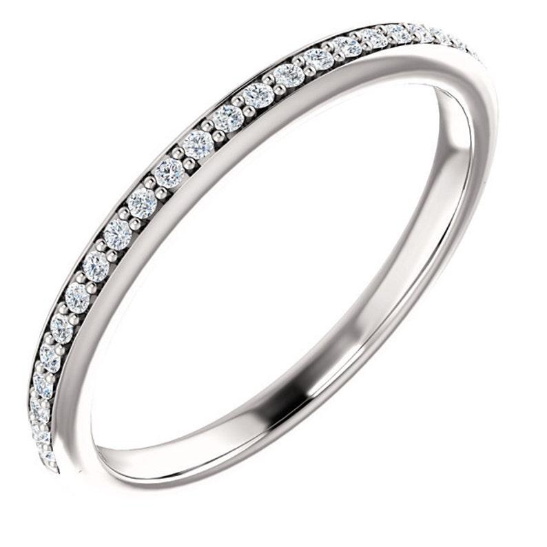 14k White Gold  Natural Diamond Wedding Band Ring image 0