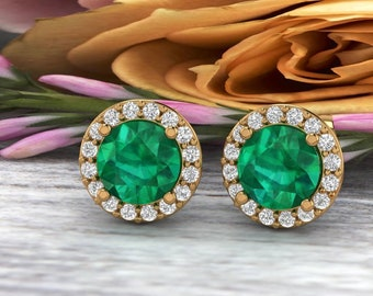 Natural Diamond & lab Created Emerald Halo Stud Earrings In 14K White/Yellow G166