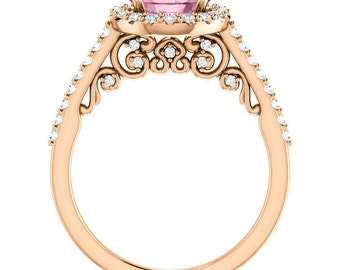 Natural Morganite Ring Set, Diamond Halo Morganite Engagement Ring Band Set, Roes gold, 7mm gemstone - OV233010