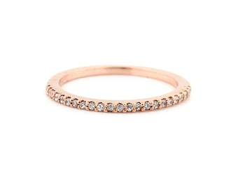 Stackable Pave 14K Rose Gold Diamond Wedding Half Eternity Matching Band Ring-Gem914***Special***