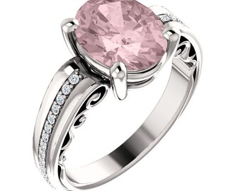 Natural AAA 10x8mm Oval  Morganite  Solid 14K white Gold Diamond Engagement Ring Set-ST233500