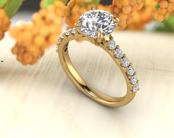 Solid 14K Gold 1.75 CT Round Moissanite (DEF) Engagement Ring Gift For Her