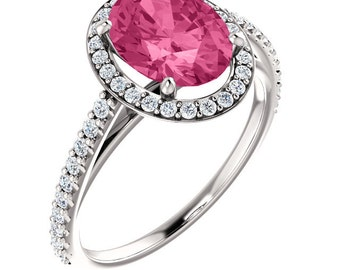 Natural AAA 9x7mm Fancy Color  Pink Tourmaline Solid 14K White Gold Diamond Halo Engagement Ring Set ST233195