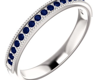 Stackable Half Eternity Blue Sapphire Wedding Band Ring With Migraine In 14k White  ,Rose or Yellow Gold On Promotion ST233080