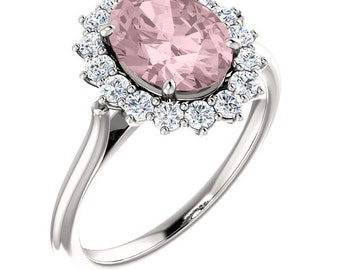 Natural AAA 10x8mm  Pink Morganite  Solid 14K white  Gold Diamond engagement  Halo Ring - ST82717