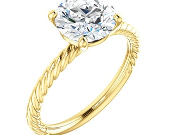 8mm round Forever One Moissanite Solid 14K yellow Gold Engagement Ring   ST82737